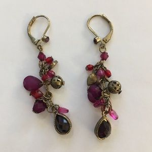 Imitation amethyst garnet onyx earrings